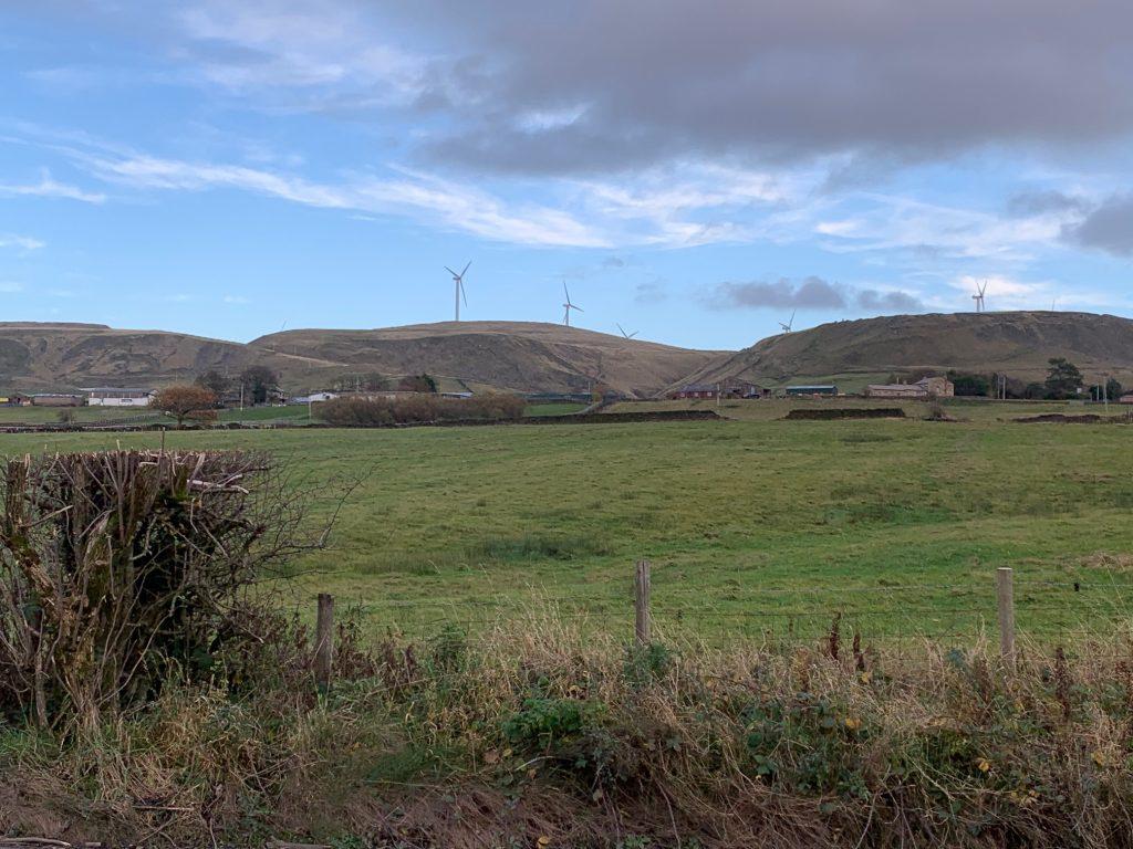 Hills and wind turbines