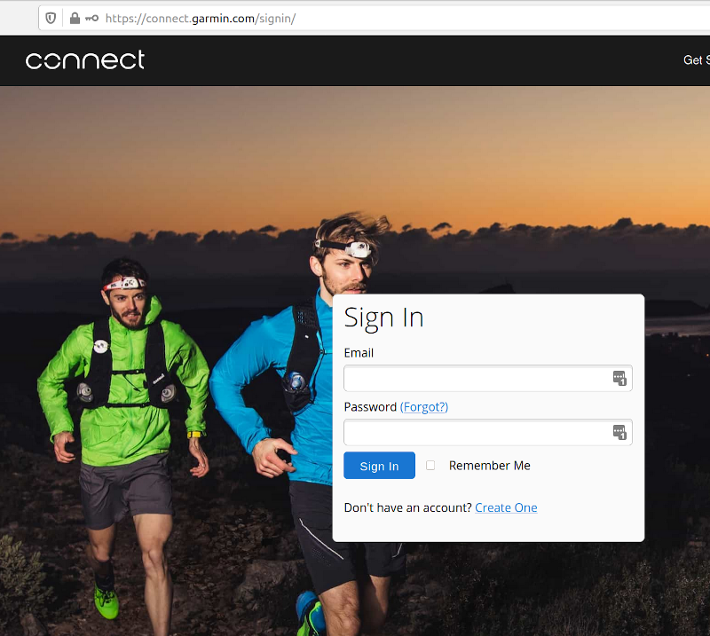 Garmin Connect login