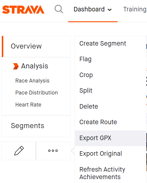 Press the three dots and export your GPX